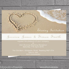 Heart in the Sand Beach Wedding Evening Day Reception Invitations x 12 with env