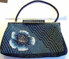 Gorgeous Vintage Blue Flower Beaded Purse Bag