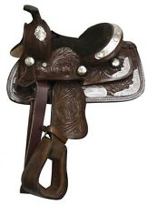 "8"" Kids Youth Toddler Mini Silver Tooled Dark Oil Leather Pony Show Saddle"