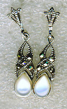 925 Sterling Silver Dainty White Mother of Pearl & Marcasite Drop Earrings  L1""