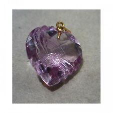 Pendentif Mineralife en or jaune et améthyste en coeur