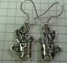 "TIBETAN SILVER FANTASTIC ""ARTISTS ODDS+END CUP/POT EARRINGS SILVER PLATED HOOKS"