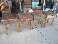 Vintage Rustic Reclaimed Wood End Table Old Fruit Crate Nightstand Farm Accent