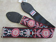 SOULDIER Guitar Strap DAISY GRAY GREY RED Vintage Style Woven Tapestry MASTODON