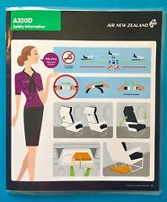 NEWEST AIR NEW ZEALAND SAFETY CARD-- A320 DOMESTIC
