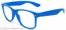 CLASSIC 80s VINTAGE RETRO CLEAR LENS SUNGLASSES SHADES BLUE FRAME GLASSES