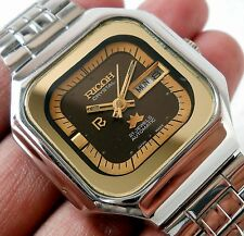 RICOH CRYSTAL JAPAN AUTOMATIC DAY DATE SUPER DESIGNER BROWN DIAL MENS RARE WATCH