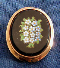 VINTAGE, GOLD, MICRO MOSAIC FLORAL INLAY, LADY'S OVAL PIN