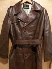 vtg LEATHER Lakeland Trench Coat DOUBLE BREASTED Brown 42 M Aviator Barnstormer