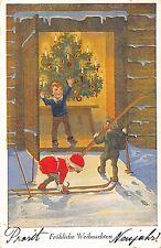 AK Tannenbaum Kinder mit Schneeschuhe Frohe Weihnachten Postkarte gel. 1927
