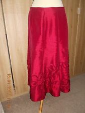 Per Una Dark wine red full length silk effect skirt applique detail flared 12S