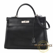 Hermes Kelly 32 in sewing box calf Black Silver hardware F stamp Free Shipping