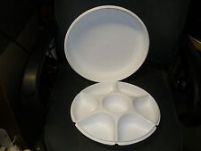 Vintage Tupperware Large Serving Center Divided Tray Set & Lid White 1665/1666