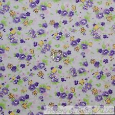 BonEful Fabric FQ Cotton Flannel VTG Purple Green Leaf White Yellow Flower Small