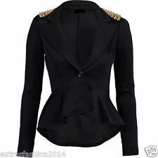 Women Ladies Crop Frill Shift Slim Fit Peplum Spike Blazer Jacket Coat Top 8-24