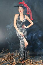Sexy Women's Black Spider Web Witch Dress Halloween Fancy Dress Costume