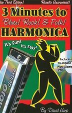 3 Minutes to Blues, Rock and Folk Harmonica by David Harp (2007, CD / Paperback)