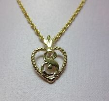 "14KT GOLD EP PERSONALIZED LETTER S HEART INITIAL WITH AN 18"" ROPE CHAIN"