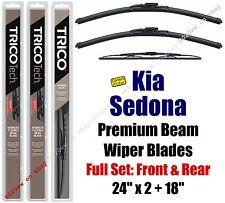 Wiper Blades 3-Pack Front Rear Standard - fit 2002 Kia Sedona - 19240x2/30180