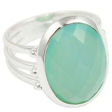 Aqua Chalcedony 925 Sterling Silver Ring Jewelry Size- 8 SR-1982