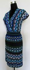 M MISSONI Knit Dress V Neck Cap Sleeve Blue Pink Green White Weave 6/42