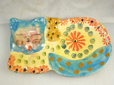 Italian Pottery Spoon Rest - Blue Face Napping Cat w/ Orange Flower & Blue Tail