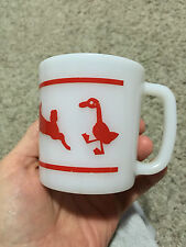 VINTAGE HAZEL ATLAS WHITE MILK GLASS CHILD MUG CUP RED BARNYARD FARM ANIMALS
