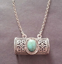 Tibetan Silver and Blue Turquoise Pendant Necklace - Free Gift Bag - UK Seller