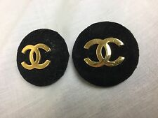 Authentic Chanel Vintage CC Logo Clips Earrings - Black Velvet and Metal
