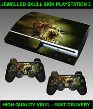 PLAYSTATION 3 CONSOLE STICKER JEWELLED SKULL SKIN GRAPHIC & 2 CONTROLLER SKINS