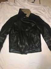 Xagon Man Black Leather Bikers Jacket Made In Italy Sz Large