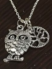 """Owl on a Limb Charm Tibetan Silver with 18"""" Necklace G1"""