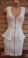 RIVER ISLAND QUILTED WHITE LONG ZIP FRONT PEPLUM PENCIL BODYCON TUBE DRESS 8 S