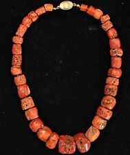 "Antique +400 Years Old Rare Natural Undyed Tibetan Coral Beads Necklace 16"" Long"