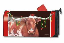 Cowboy Christmas Magnetic Mailbox Cover Western Longhorn Steer Holiday MailWraps