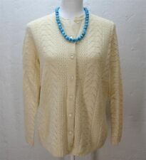 Vtg 50's 60's cream ivory knit cardigan button up sweater top shirt blouse M/L