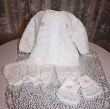DARLING Fine Delicate Knit Baby Doll Outfit w/Pink Flowers For Reborn WHITE