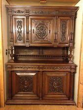 1800's ANTIQUE FRENCH RENAISSANCE EUROPEAN CARVED WALNUT CABINET with HUTCH