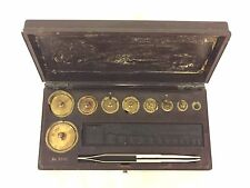 Vintage Fisher Brass Scale Weights in Composite Case w/ Tweezers Wm Ainsworth CO