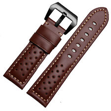 22mm Italian Brown Leather Perforated Racing Watch Strap Band Black Pre-V Buckle