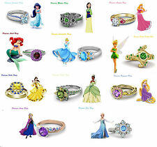 925 Sterling Silver Multicolor CZ Disney Princess Engagement Ring For Women's