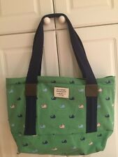 SLOAN RANGER ~PREPPY WHALES~LARGE CANVAS TOTE BAG WITH TRIM NWT
