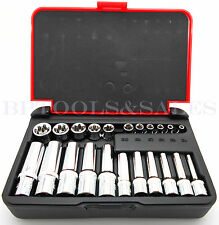 "22-PC 1/4"" & 3/8"" DR. Female TORX Socket Set Star Socet E4-E10 E11-E18 Sockets"