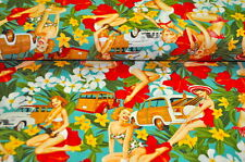 Alexander Henry USA 0,5m Hibiskus Hawaii HAWAII PIN UP GIRLS SURFER Rockabella A