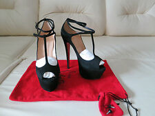 NEW Christian Louboutin Talitha 160 Black Suede Pumps 40 10 Daffodile Highness