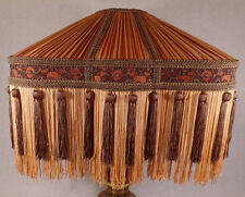 Copper & Brown Deco Style Pleated Polyester Fringed Fabric Table Lamp Shade #779