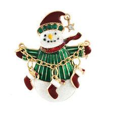 Cristal Estrás Broches Bonito Muñeco De Nieve Navidad Papá Noel Boots Pin Diseño