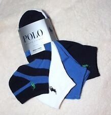 4 Pack Ralph Lauren Polo Mens 10-13 L Striped Solid No Show Socks Ankle Ped Blue