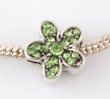 1pcs silver gree flowers sided CZ spacer beads fit Charm European Bracelet AA980