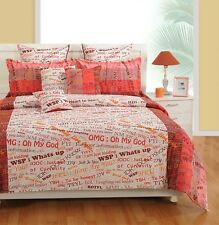 Swayam White and Pink Colour Text Print Double Bed Sheet with Pillow Covers